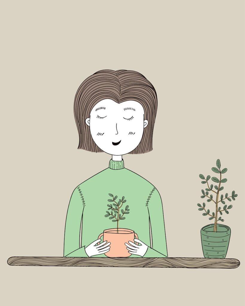 dessin femme sourire plante